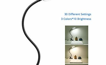 Reading Light Clip-on Desk Lamp, 10 Brightness Levels 3 Light Modes, Clamp Lamp for Painting Board, Piano, Craft, Study, Work (Black)