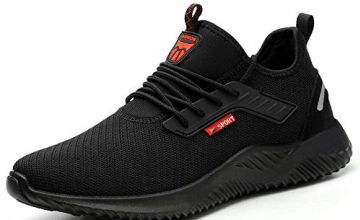 weight Safety Shoes Men Women Work Trainers Toe Caps Sport Sneakers, Black, 6 UK