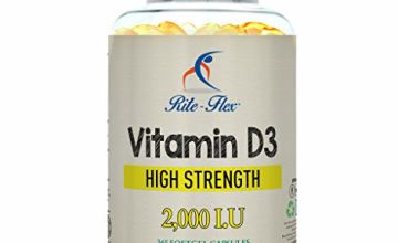 Vitamin D3 2000IU 365 Softgels   Bone and Immune System Support   Non-GMO & Gluten Free   2X Potency Easy-to-Swallow Softgels for Full Year Protection and Nourishment by Rite-Flex
