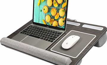 """HUANUO Laptop Tray for Bed with Cushion, Built in Mouse Pad & Wrist Pad for Notebook up to 17"""" with Tablet, Pen & Phone Holder"""