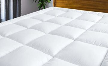 """MASVIS quilted mattress topper with adjustable 8""""-21"""" deep pocket, 5cm thick 1000g Filling hypoallergenic bed topper"""