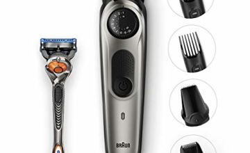 Braun BT7040 Beard Trimmer and Hair Clipper, Detail Trimmer and Mini Foil Shaver Attachments, Sharp Metal Blades, Free Gillette Fusion5 ProGlide Razor, Charging Stand, Black/Grey