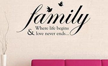 Walplus Wall Stickers Family Birds Quote Removable Self-Adhesive Mural Art Decals Vinyl Home Decoration DIY Living Bedroom Office Décor Wallpaper Kids Room Gift, Multi-colour