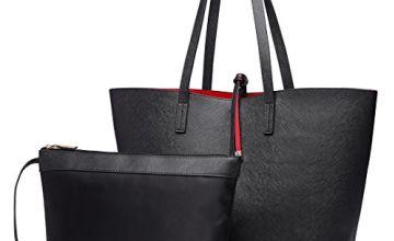 Miss Lulu Women Reversible Tote Bag Faux Leather Shoulder Handbag Large Shopper Set (Grey)