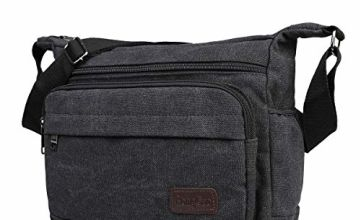 JAKAGO Waterproof Messenger Shoulder Bag Multi Pockets Crossbody Bag for for Men Women, Casual Travel Bag Canvas Handbag Briefcase for Working Shopping School Fishing Camping Hiking Daily Use