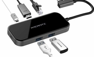 Save on ARCANITE Premium USB-C Hub, 100 W Output, 4Kx2K HDMI, Gigabit Ethernet, 2 USB 3.0 Type-A Ports, Aluminium and Glass Exterior, LUCN3288 and more