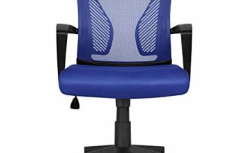 Yaheetech Desk Chair Executive Computer Office Chair, Ergonomic Adjustable and Swivel Fabric Mesh Chair with Comfortable Lumbar Support
