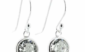 pewtehooter 925 Sterling Silver fishhook earrings for women made with Diamond White crystal from Swarovski® in silver channel settings. London jewellery box. Hypoallergenic & Nickel Free Jewellery.