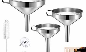 Stainless Steel Funnel, HBONE 3 Pcs Kitchen Funnel Set with