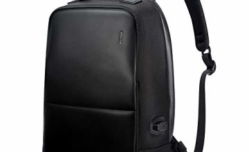 BOPAI Anti-theft Laptop Backpack Men 15.6 Inch Microfiber Leather Laptop Backpack With usb Charging Port Travel Computer Backpack for Work, Black