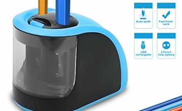 Pencil Sharpener - Electric Pencil Sharpener with USB or Battery Operated - 2 Holes(6-8mm & 9-12mm)- Perfect Gift for Kids,Student, Artist, Professionals (Batteries not Included)