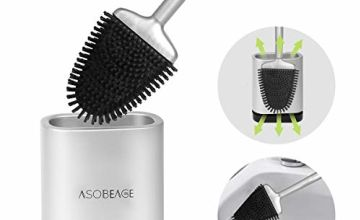 ASOBEAGE Toilet Brush and Holder, Toilet Bowl Brush for Bathroom Toilet