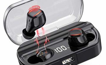 VOOE Wireless Headphones Bluetooth Earphones, 5.0 Wireless Earbuds 80H Playtime Noise Cancelling IPX7 Waterproof In-ear Sport Earphones with Touch Control/Mic/Digital Display Battery Charging Case