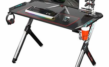 EUREKA ERGONOMIC Gaming Desk RGB Lighting R1-S Gaming Table 44.5'' PC Desk Sturdy Easy to Assemble Computer Desk with Free Mouse pad Cup Holder Headphone Hook for Men Boy/Girlfriend Son/Daughter Black