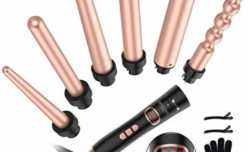 Curling Tongs BESTOPE Professional Curling Iron Set with 6 Interchangeable Tourmaline Ceramic Barrels LCD Display 120℃-220℃ Temperature Control Dual Voltage Heat Resistant Glove 2 Clips Gold Rose