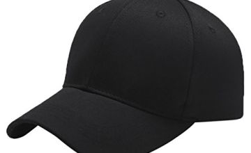 Yidarton Baseball Cap Polo Style Classic Sports Casual Plain Sun Hat(Black)