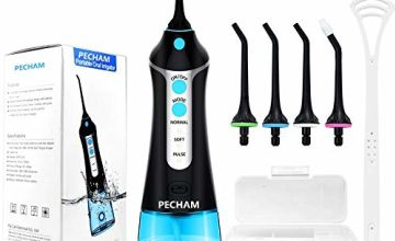 Cordless Water Flosser for Teeth, PECHAM Portable Oral Irrigator Dental Floss IPX7 Waterproof 300ML 3 Modes 4 Jet Tips and Tongue Cleaner Help Deep Clean Oral, USB Rechargeable for Home Travel