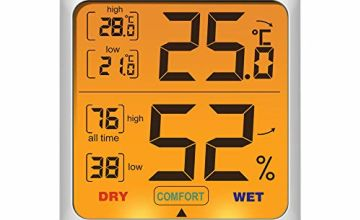 ThermoPro TP53 Hygrometer Digital Indoor Room Thermometer Temperature Humidity Monitor Gauge Indicator for Nursery Home Office with Touch Backlight Amphibians Hygrometer