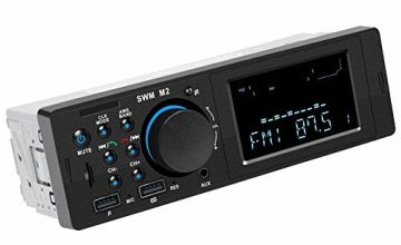 RIXOW Car Radio, Bluetooth Stereo FM Radio 60 W x 4 Double USB Quick Charge MP3 Player Hands-free Calls, FM Function, USB, Micro SD (TF), AUX, Charging Port, ISO Plug