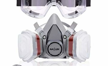 NASUM Dust Face Cover Paint Cover, for Painting, Dust, Particulate, Chemicals, Machine Polishing, Welding and Other Work Protection, with Safety Goggle & 8Pcs Filter Cotton