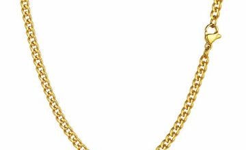 "PROSTEEL Men Sturdy Cuban Chain, 3/6/9/12mm, 14"" 18"" 20"" 22"" 24"" 26"" 28"" 30"" Length, 18K Gold Tone/316L Stainless Steel/Black (Send Gift Box)"