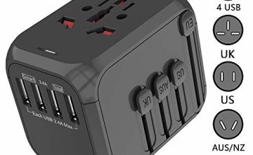 Upgraded Universal International Travel Power Adapter-Smart High Speed 3.4A 4xUSB Wall Charger, European Adapter, Worldwide AC Outlet Plugs Adapters for Europe, UK, US, AU, Asia
