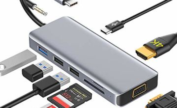 USB C Hub 9 in 1 Dex Station Dual-Display with HDMI 4K,VGA,3 USB Ports,PD Charging, Audio, Support SD/TF Card Type C Adapter OTG Compatible with MacBook Pro/Air 2018,Nintendo Switch