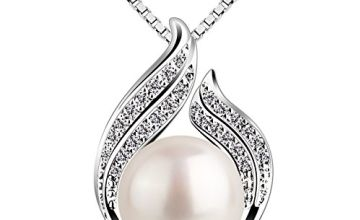 """B.Catcher Pearl Necklace Freshwater Bud 925 Sterling Silver """"Hug with Pearl"""" Pendant Necklaces 18"""" for Women Pearl Jewellery"""