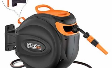 TACKLIFE Auto Hose Reel 20+2m, Wall-Mounted Hose Reel with Wall Bracket and Spray Nozzle, Any Length Lock and Easy Rewind - GHR1A