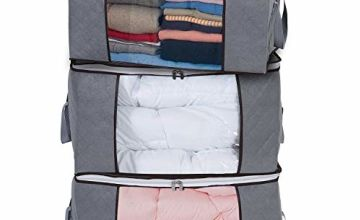 Yopih Storage Bags for Clothes with Zips 3pcs Duvet Storage Bag Underbed Comforters for Clothing Quilt Bedding Blankets Sweaters 50 x 47 x 28 cm