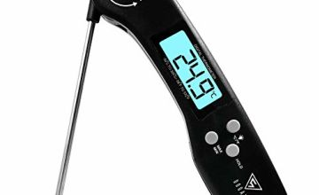 Meat Thermometer, DOQAUS Instant Read Cooking Thermometer, Digital Food Thermometer, Backlight LCD Screen Foldable Long Probe & Auto On/Off, Perfect for Kitchen Cooking, BBQ, Water,Meat, Milk (Black)