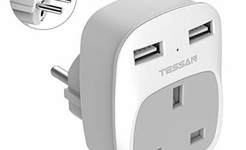 UK to EU Euro Europe Travel Adapter with 2 USB Ports - Grounded European Power Plug Adapter for Germany France Iceland Poland Spain Russia and More (Type E/F)