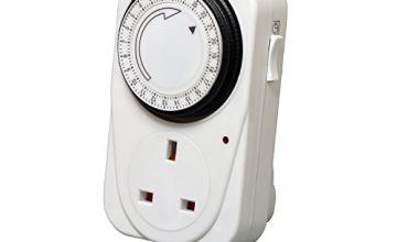 Defender 24 Hour Segment Timer Switch - Energy Saver Plug Standard Size - Hour Plug-in Timer Socket Set - 240v 3 Pin Plug With Programmable Time Controller (1 x Pack)