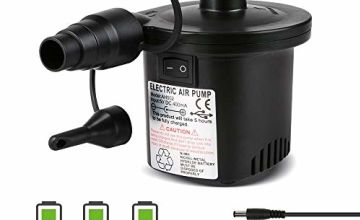 Deeplee Electric Air Pump, Quick-Fill Electric Rechargeable Inflator for Inflating/Deflating Paddling Pool Airbed Air Mattress Inflated Toy, 3 Nozzles Included (USB Adapter:5V)