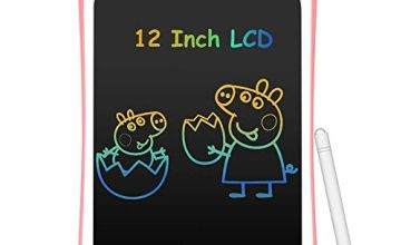 AGPTEK 12Inch Colorful LCD Writing Tablet for Kids, Portable Electronic writing board drawing board with Lock Switch for kids home school, Pink