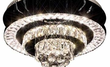 """EplazaArtL LED Crystal Ceiling Light, Dimmable Remote Control Bedroom Light,Easy to Install 15.7"""" Round Crystals Ceiling Light for Bedroom, Living Room, Light Fixture, Stainless Steel, A++"""