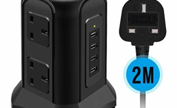 Tower Extension Lead, Te-Rich 10amp 6-Socket Surge Protector Multi Plug Power Strip Switched Charging Station with 4 USB Charger, 2M Cord for Home, Office