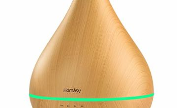 Homasy 450ml Essential Oil Diffusers, Upgraded Large Capacity Oil Diffusers with Large Mist Output, Quiet Aroma Diffuser with BPA-Free, Auto Shut-off, 4 Timers, 8 Colour Lights-Yellow Wood Grain