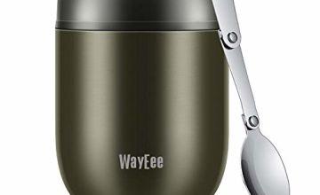 WayEee Food Flask, Stainless Steel King Food Jar with Folding Spoon