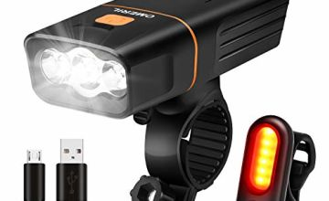 OMERIL Bike Light Set, Super Bright Rechargeable Bicycle Lights with 3 LEDs 600 lumen Bike Headlight and Safe Tail Light, Anti-Glare Beam, Cycle Lights for Road & Mountain Riding, Easy to Fit