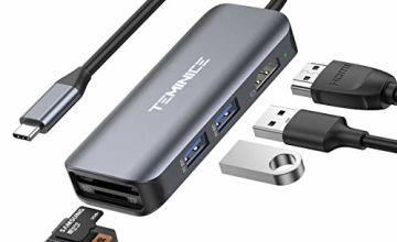 【Updated 2020 Version】 USB C Hub,6 in 1 Portable Aluminium Dongle with 4K USB C to HDMI Adapter, 2 USB 3.0, SD TF Card Reader,Compatible for MacBook/Pro/Air 2016/2017/2018/2019,More Type C Devices
