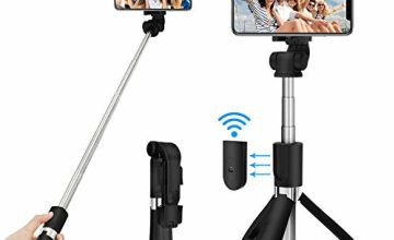SYOSIN Selfie Stick Tripod, Extendable Bluetooth Selfie Stick with Detachable Wireless Remote, 3 in 1 Multifunctional Selfie Stick and Phone Tripod Stand-Compatible with iPhone/Samsung/Huawei and More