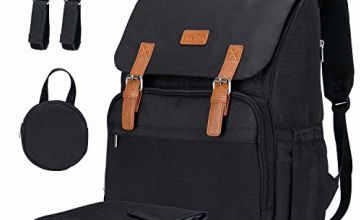 Lifewit Baby Nappy Changing Bag Backpack Diaper bag Diaper Backpack with Insulated Pockets/Side Tissu Pocket/Changing Pad, Baby Travel Backpack for Baby Shower Baby Care, Black