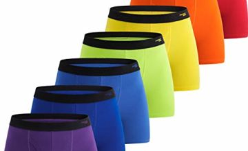 INNERSY Men Boxer Shorts Cotton Open Fly Underwear Trunks Multipack Rainbow Sports Briefs Pack of 7