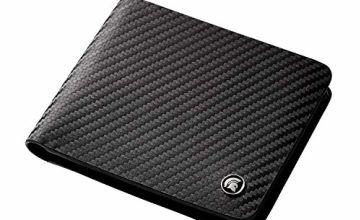 POWR Leather Wallet, RFID Blocking Carbon Fibre Bi-fold Card Holder, with Gift Box (Black)