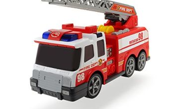 Dickie 203308358 Fire Engine Toy with Hose, Telescopic Ladder, Manual Water Pump, Lights & Sound Effects | Age 3+, red