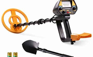 FLOUREON Metal Detector Pinpointer for Kids Adults Metal Finder Gold Detector Waterproof with Spade/Shovel with ALL METAL and DISC Modes,Adjust Sensitivity,Battery Included