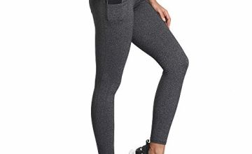 SIMIYA High Waist Leggings, Womens Running Tights With Pockets Power Stretch Yoga Pants Slim Fit Sports Trousers