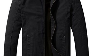 WenVen Men's Casual Lightweight Full Zip Military Jackets