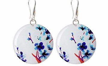 Futuristic Japanese Sakura Blue and White Earrings Gifts for Daughter; Nice Blue Dangle Jewellery for Birthday; Design Diameter 1.2inch -3cm